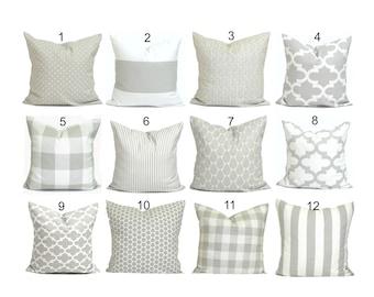 Gray Pillow Covers, Farmhouse Pillow Cover, Throw Pillow Cover, Accent  Pillow Cover, Couch Pillow Cover, French Farmhouse Decor, Neutral