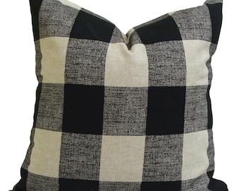 Farmhouse Christmas Pillow Cover, Farmhouse Pillow Cover, Black Plaid Pillow Cover, Black Buffalo Check Pillow