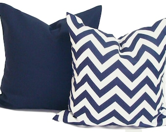 NAVY BLUE PILLOW Set.Pillow Covers 18x18, 20x20 or 16x16 inch Pillows.Decorative Pillow Cover.Navy Blue Pillows. Blue Pillow Cover.Cushion