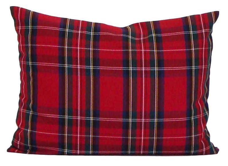 Farmhouse Pillows Tartan Plaid Pillow Covers Christmas Pillow Cover Lumbar Pillow Cover Red Green Plaid Pillow Cover