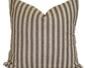 Farmhouse Decor, Farmhouse Pillow Cover, Black Ticking Pillow Cover, Black Throw Pillow