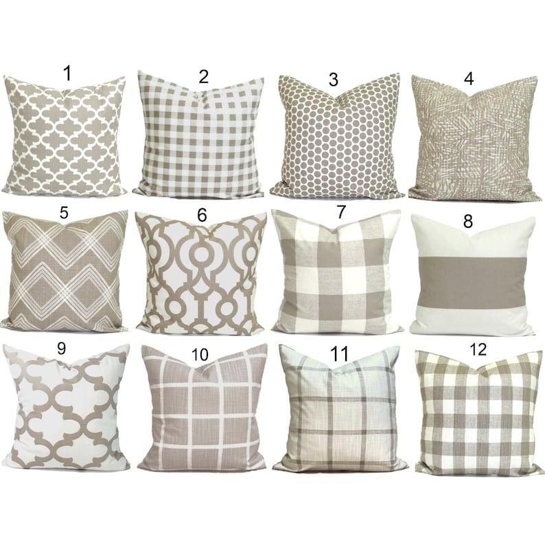 Tan Throw Pillow Tan Pillow Cover Neutral Throw Pillow image 0