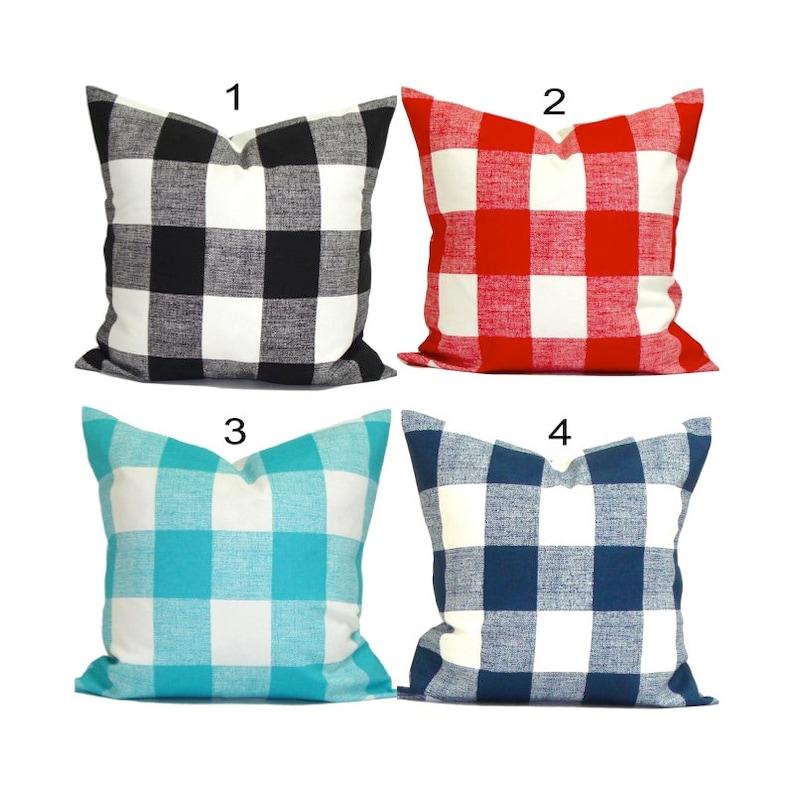 Outdoor Farmhouse Pillow Covers Buffalo Check Plaid Pillows Etsy