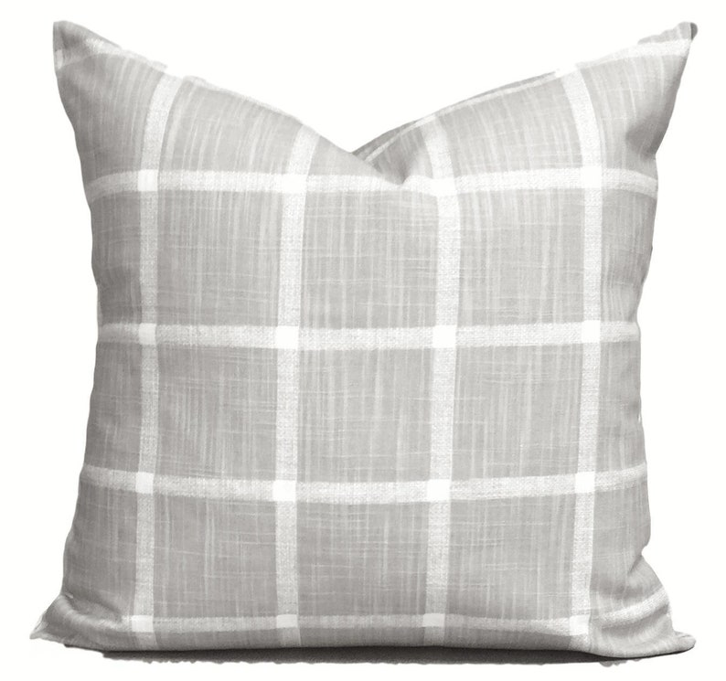 Farmhouse Pillows Gray Check Pillow COVERS Farmhouse Decor image 0