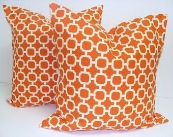 Accent Pillows.Orange.SET OF TWO 18x18 inch.Free Shipping