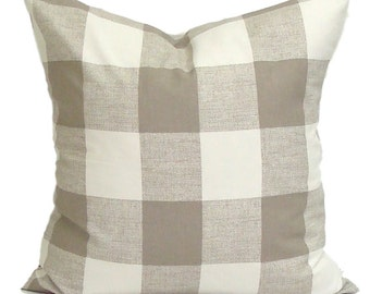 Pillow, Tan Throw Pillow, Pillow Cover, Plaid Pillow, Buffalo Check Pillow, Buffalo Plaid. Tan Euro Sham. Tan Cushion. ALL Sizes,Cm, Neutral