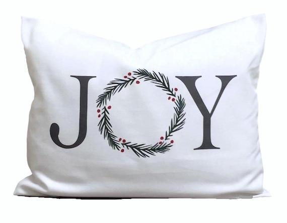 Christmas Pillow Cover Christmas Decor Joy Word Lumbar Etsy