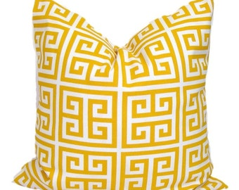 Yellow Pillow, Yellow Pillow Cover, Decorative Pillow,Yellow Pillow, Greek Key Pillow,18x18, 16x16, 22x22, 24x24, 26x26 and more-Cushion
