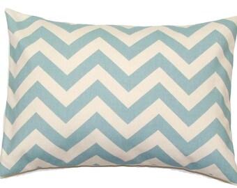BLUE PILLOW COVER.12x16 or 12x18 inch Decorative Lumbar Pillow Cover.Housewares.Home Decor.Blue Chevron.Spa.Robins Egg.ZigZag,Zig Zag.cm