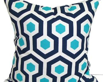 BLUE OUTDOOR PILLOWS, Navy Blue Pillow Cover, Turquoise Decorative Pillow, Navy Pillow, Aqua Pillows, Outdoor Pillow Covers,Cm, Beach Decor