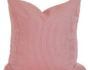 CHRISTMAS PILLOW COVER, Farmhouse Christmas Pillow Cover, Red Ticking Pillow Cover