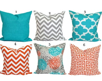 OUTDOOR PILLOWS, Pillow Cover, Decorative Pillow, Orange Gray Turquoise Pillow, Aqua Pillows, Outdoor, Outdoor Pillow Cover,Beach Decor.Grey