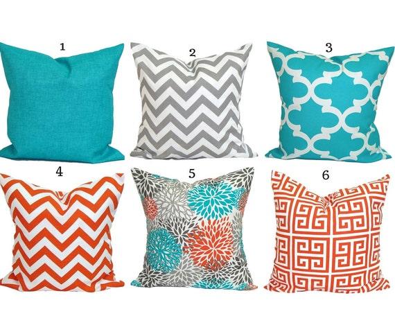 Outdoor Pillow Covers Aqua Pillow Cover Orange Pillow Etsy
