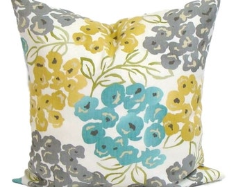 Teal Pillow Cover, Floral Pillow COVER, Teal Throw Pillow