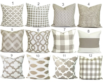 PILLOWS, Decorative Pillow, Throw Pillow, Accent Pillow, Euro Sham, Couch Pillow, Tan Pillow. Pillow Sham, Ecru, Cushion, Neutral, Farmhouse