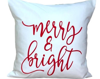 Christmas Pillow Covers, FARMHOUSE Pillow Covers, Christmas Decor, Merry and Bright Pillow