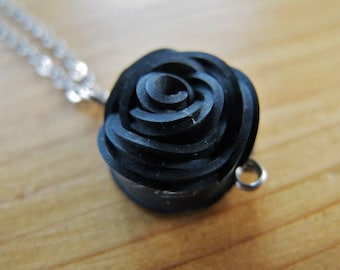 Innertube Rose Necklace, Recycled Jewelry, Upcycled, Innertube, Black, Rose Pedals, Eco Friendly Gift, Bicycle, Bike, Reused, Repurposed