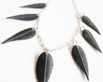 Black Feather Necklace, Bicycle Tire Necklace, Bike Innertube Jewelry, Rose Pedals Jewelry, Ships from Canada