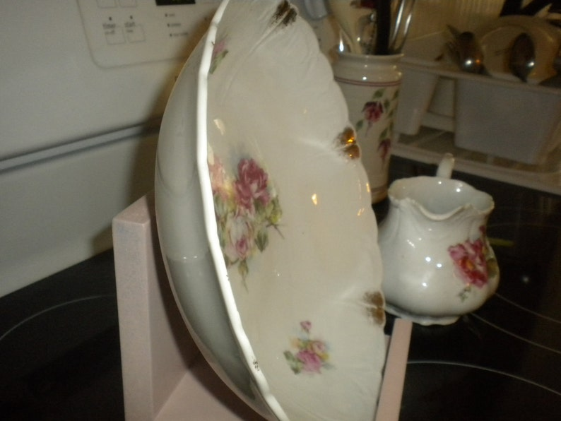 SALE.....Cabbage Rose Bowl and small PitcherCreamer,French Cottage,Collectable,Cottage chic