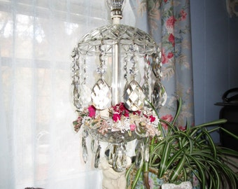 SALE.....Amazing ONE OF A kind Vintage Metal Cherub ,Crystal,  Prisms, Vintage Millinery Flowers, Waterfall Lamp, French, Hollywood Regency
