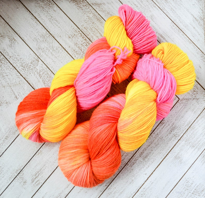 Neon Yellow Pink and Orange Choose Weight an Base Litha DYE TO ORDER