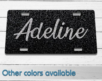Black Glitter Name Printed Aluminum License Plate | Custom Plate | Glitter | Front License Plate | Vanity Plate | For Her | For Him