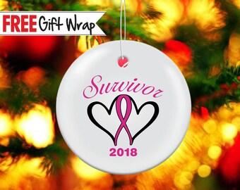 cancer survivor christmas printed aluminum christmas ornament breast cancer survivor gift for cancer survivor gift idea cancer sucks