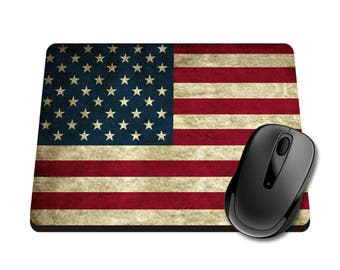 Vintage American Flag Printed Mouse Pad / Office Accessories / Desk Accessories / Mousepad / Distressed / USA mouse padTeacher GiftTeache