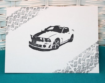 Set of 6 Hand Stamped Mustang Car Note Cards