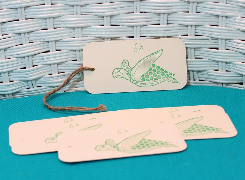 Hand Stamped Set of 6 Sea Turtle Tags