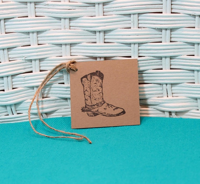 Hand Stamped Set of 8 Cowboy Boot Tags