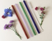 Glass Straws Colour Mix / Set of four reusable glass drinking straws / Pyrex / Eco friendly / Smoothie straw