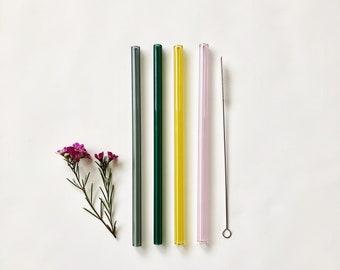 Glass Straws Colour Mix / Set of four reusable glass drinking straws / Pyrex / Eco friendly / Smoothie straw