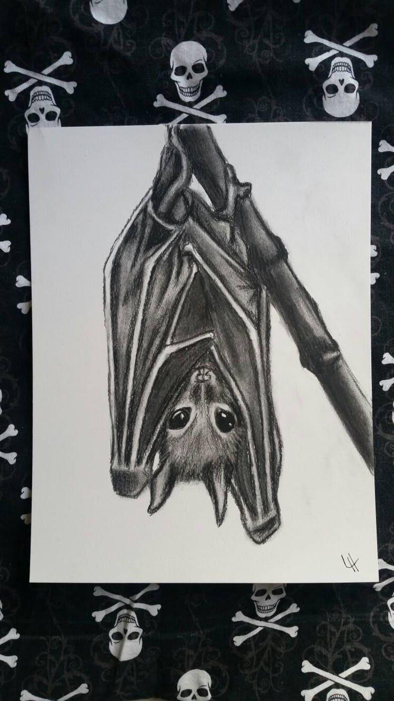 9x12 Cute hanging bat charcoal drawing