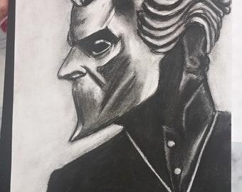 8x10 Nameless Ghoul charcoal drawing - original