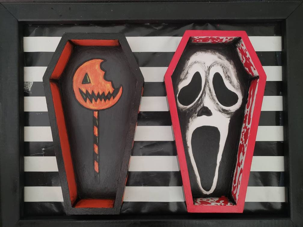 Coffin shaped boxes - horror themed - Trick r Treat and Scream