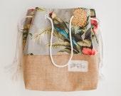 Burlap Bottom Beach Bag / Palm Print Pineapple Jute Tote / The Sandbag Special Edition