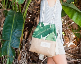 Green Palm Print Purse / Mini Sandbag Beach Bag / Banana Leaf Tote