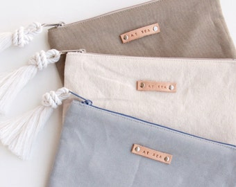 Gray Khaki Canvas Zipper Pouch Monogram Clutch