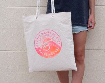 Surf Bag Beach Tote / Neon Pink Orange / Natural Canvas