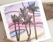 Pink Sunset Palms Watercolor Painting Original Tropical Palm Tree