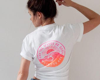 Surf TShirt Neon Pink & Orange White Tee Waves Surfer Girl Gift