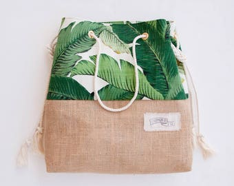 Palm Print Burlap Beach Bag The Sandbag in Green Banana Leaf Jute