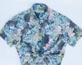 Vintage Silk Blue Pink Grey Hawaiian Shirt Island Republic M