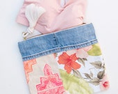 Pink Hibiscus Large Zipper Pouch / iPad Case / Clutch Bag Hand Embroidered Reclaimed Fabric