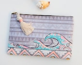 Hand Painted Boho Wave Zip Pouch / Oversized Travel Case / Surfer Girl Gift