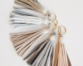Leather Tassel / Gold Keychain / White Grey Pink Blush Nude