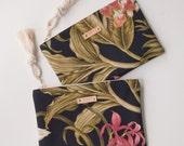 Black Tropical Zipper Pouch Monogram Makeup Bag