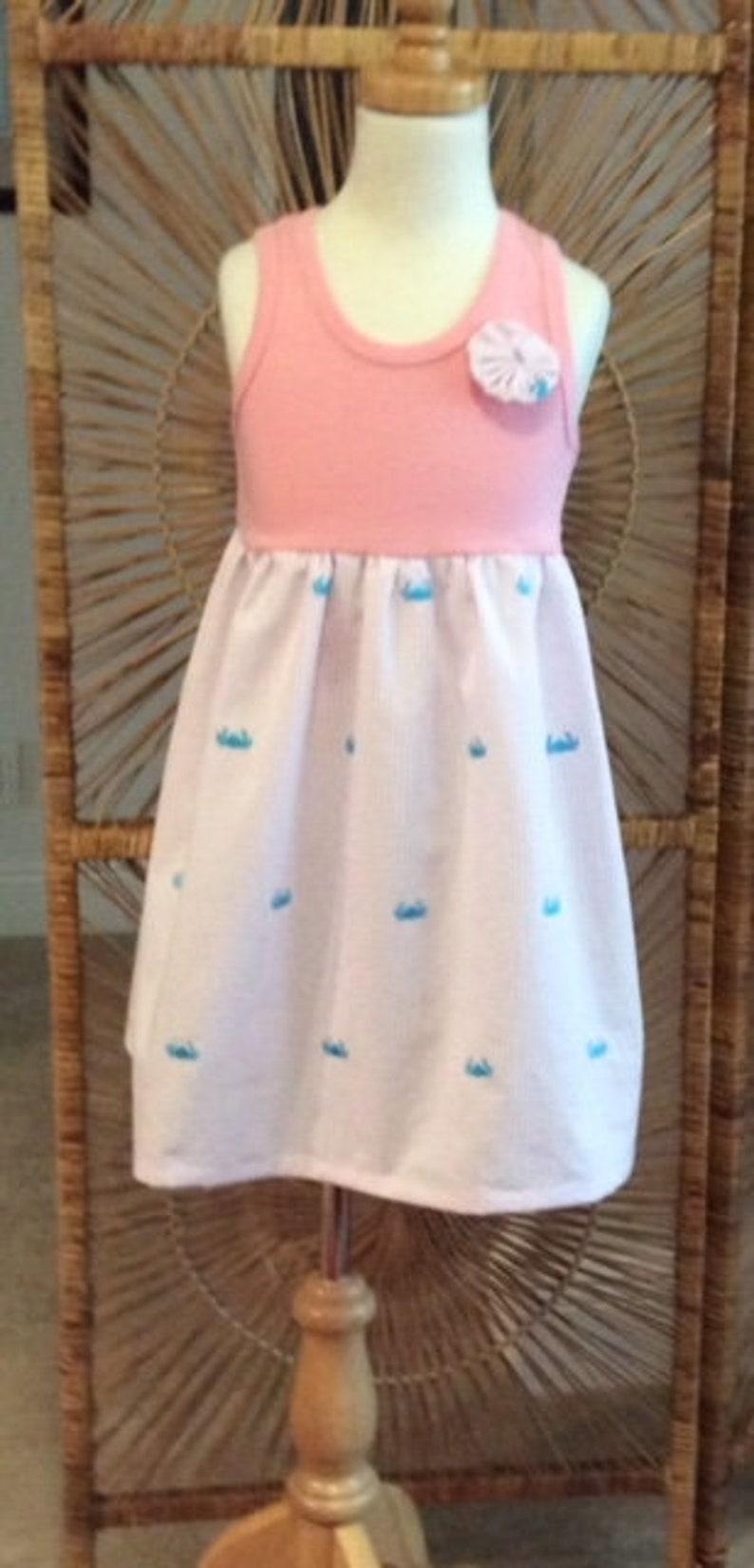 sizes 6mo Crisp pink seersucker with embroidered turquoise crabs.. SEERSUCKER CRABS TANK dress 8 years...lots of coordinates!