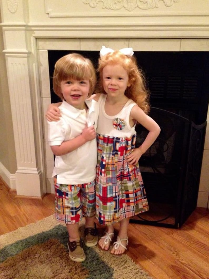BROTHER SISTER SET girl's tank dress with matching boys shorts in Michael  Miller's Madras Plaid   perfect for family pics!